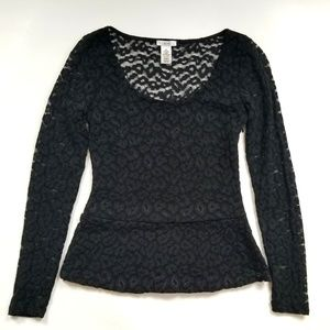 Cache stretchy lace peplum top